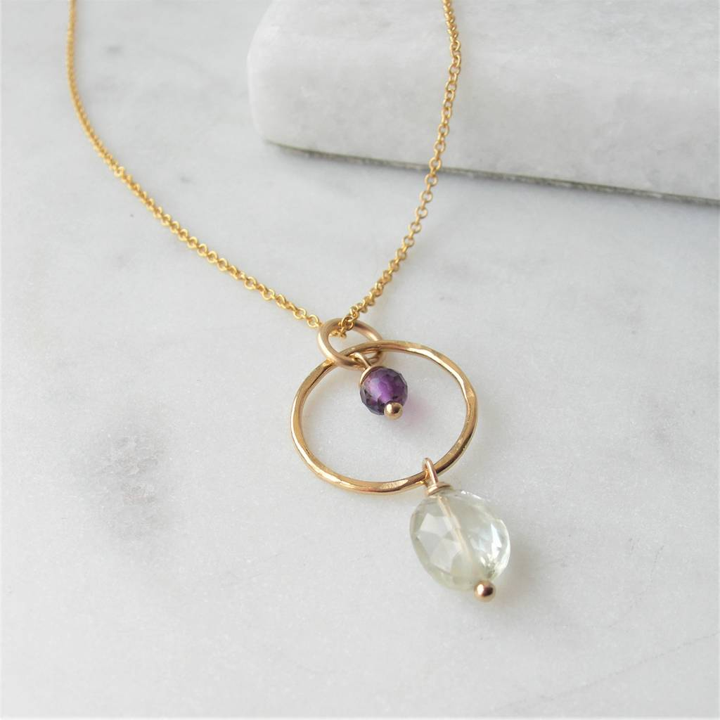 rose in quartz spinel green smokey necklace with blue plate bronzallure and amethyst black gold topaz