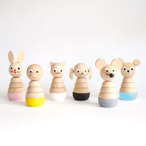 Set Of Six Wooden Stacking Toys