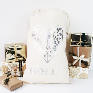 Personalised Nordic Heart Silver Print Sack - stockings & sacks