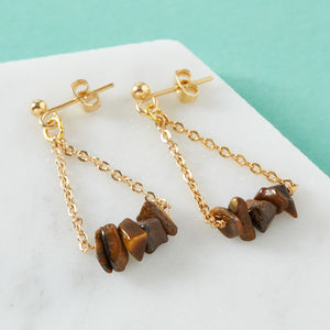 Gold Chandelier Earrings With Tiger's Eye Gemstones