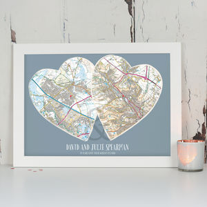 Personalised Postcodes Couples Map Print - travel inspired wedding gifts