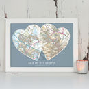 Personalised Postcodes Couples Map Print