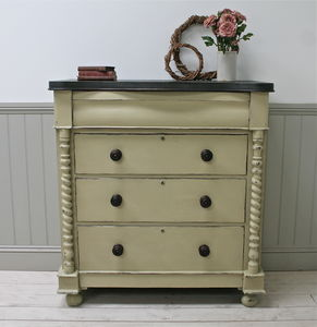 Distressed Victorian Four Drawer Chest - furniture