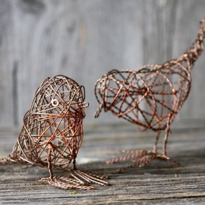 Set Of Two Copper Wire Robins - christmas decorations