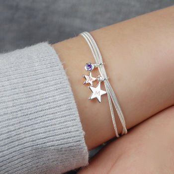 Personalised You And Me Silver Star Bracelet