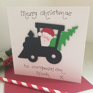 Personalised Train Christmas Card - winter sale