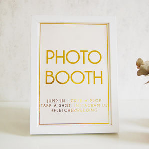 Gold Wedding Photo Booth Sign Personalised - what's new