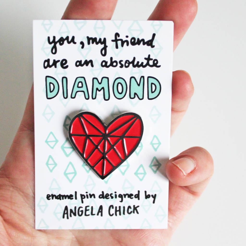 Happy Birthday Best Friend Card Diamond Heart Pin
