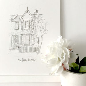 Personalised House Portrait Line Drawing - limited edition art