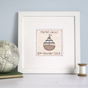 Personalised Sailing Boat Picture - children's pictures & paintings