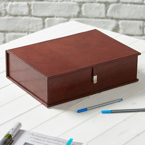 Personalised Leather Document Box File - desk accessories