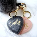 Personalised Leather Effect Heart Keyring