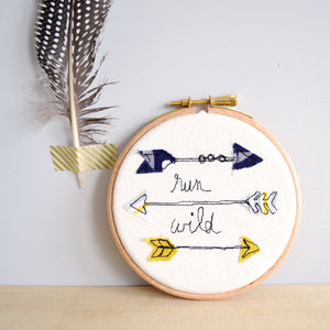 Run Wild Indian Arrows Embroidered Picture