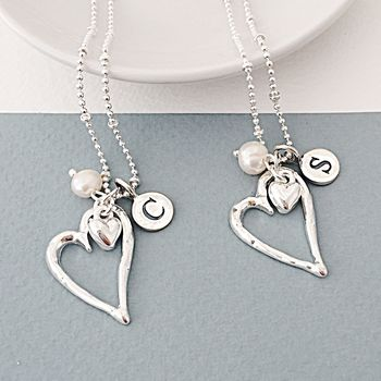 Personalised Open Silver Heart Necklace
