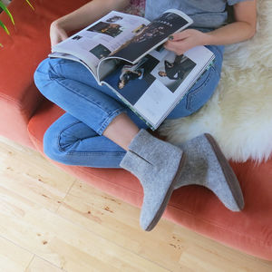 Fairtrade Handmade Felt Unisex Slipper Boots Suede Sole - women's fashion
