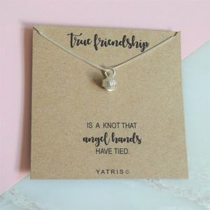 Friendship Knot Silver Pendant Necklace Gift Box