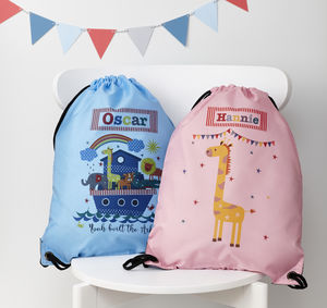 Child's Personalised Noah's Ark Waterproof Swim Bag - children's room