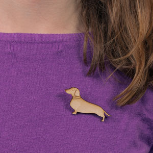 Little Wooden Sausage Dog Brooch - new in jewellery