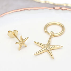 18ct Gold Mismatched Starfish Earrings