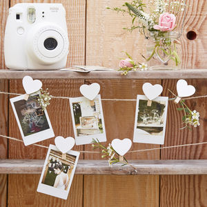 Wooden Heart Pegs And Twine Photo / Note Card Display - noticeboards