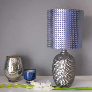 Geometric Lampshade In Blue And Gunmetal