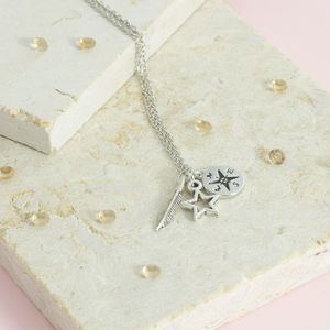 Antique Silver Plated Compass Necklace