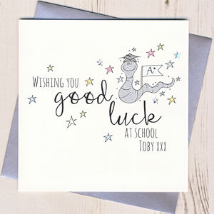 Personalised Worm Good Luck At School Card