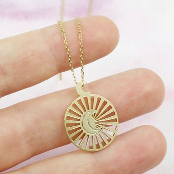 Gold Moon And Sun Disc Pendant Necklace