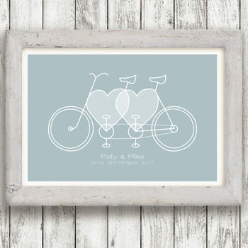 Personalised Bike Lovers Wedding Print