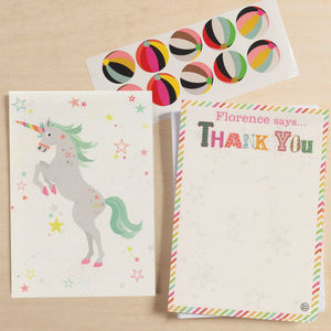 12 Childs Thank You Cards Unicorn Design