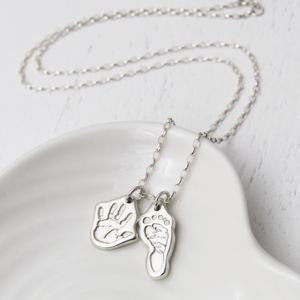 Personalised Handprint Footprint Necklace - necklaces & pendants