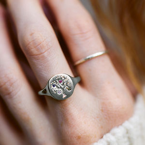 Family Tree Signet Ring With Birthstones