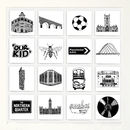 Illustrated Manchester Tiles In Box Frame