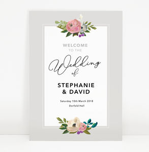 Grey Floral 'Sadie' Wedding Welcome Sign
