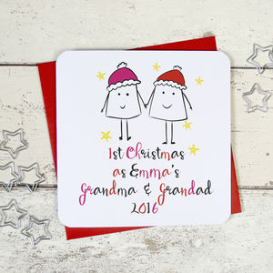 Personalised 'First Christmas As Grandparents ' Card - christmas cards