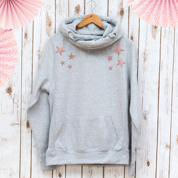 Ladies Cowl Neck Hooded Sweatshirt With Stars