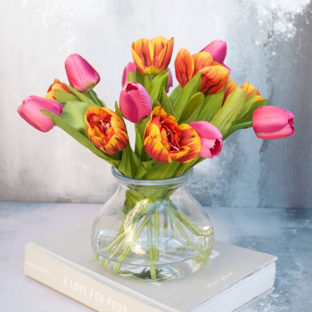 everlasting rust and pink tulip bouquet in vase by abigail ...