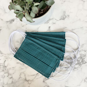 Pack Of Five Teal Pin Spot 100% Cotton Facemask