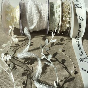 White Ribbon And Trim Collection - ribbon