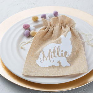 Personalised Easter Jute Bag - easter egg hunt