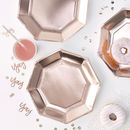 Rose Gold Foiled Party Celebration Paper Plates