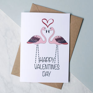Flamingo Love Valentines Card