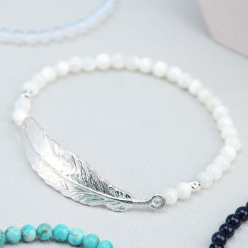 Personalised Sterling Silver Feather Bracelet - Mother of Pearl