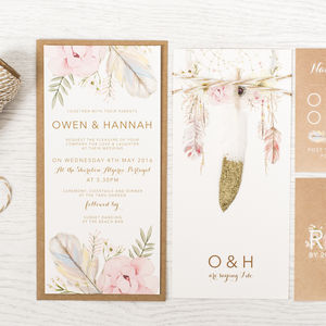 'Boho Sparkle' Wedding Invitation - wedding stationery