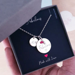 Sterling Silver 40th Birthday Personality Necklace - 40th birthday gifts