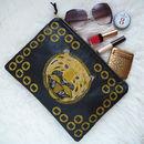 Embroidered Metallic Tiger Leather Clutch Bag