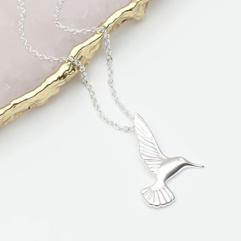 Personalised Sterling Silver Hummingbird Necklace