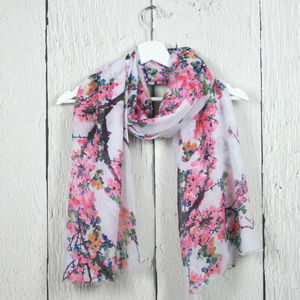 Delicate Blossom Print Scarf - hats, scarves & gloves