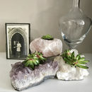 Natural Crystal Succulent And Candle Holder