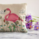 Flamingo In A Meadow Lavender Cushion
